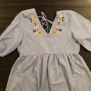 NWT Striped Dress with Flowers Large